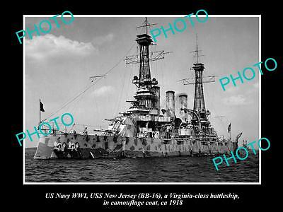 Old Large Historic Photo Of Us Navy Wwi, Uss New Jersey In Camouflage 1918