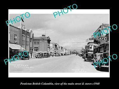 OLD LARGE HISTORIC PHOTO OF PENTICTON BRITISH COLUMBIA, MAIN St & STORES c1940