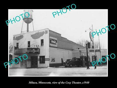 OLD LARGE HISTORIC PHOTO OF MILACA MINNESOTA, VIEW OF THE COZY THEATER c1940