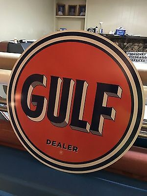 "Gulf Dealer Old Style Sign  Gas Oil Sign Large 24"" Antique Porcelain Look Nice"