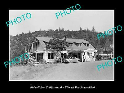 Old Large Historic Photo Of Bidwell Bar California, The Store & Gas Station 1940
