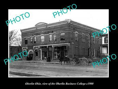 OLD LARGE HISTORIC PHOTO OF OBERLIN OHIO, THE OBERLIN BUSINESS COLLEGE c1900