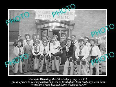 Old Large Historic Photo Of Laramie Wyoming, Elks Lodge Group As Cowboys 1933