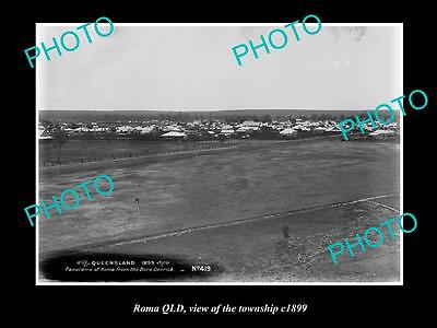 OLD LARGE HISTORIC PHOTO OF ROMA QLD, PANORAMA OF THE TOWNSHIP c1899