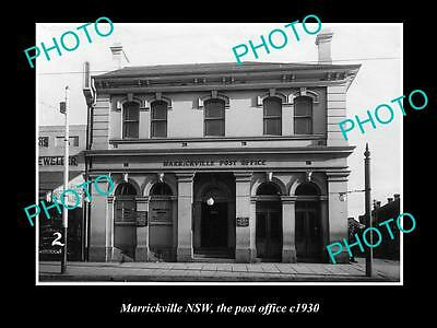 OLD LARGE HISTORIC PHOTO OF MARRICKVILLE NSW, THE POST OFFICE BUILDING c1930