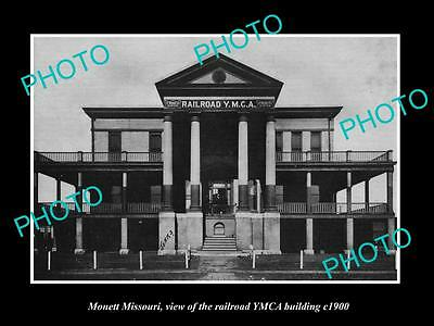 OLD LARGE HISTORIC PHOTO OF MONETT MISSOURI, THE YMCA RAILROAD BUILDING c1900
