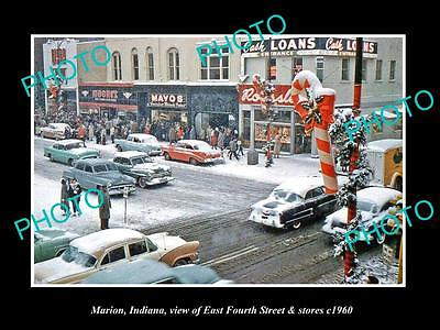 OLD LARGE HISTORIC PHOTO OF MARION INDIANA, VIEW OF EAST FOURTH St c1960