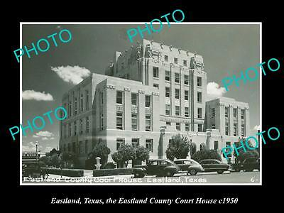 OLD LARGE HISTORIC PHOTO OF EASTLAND TEXAS, EASTLAND COUNTY COURT HOUSE c1950