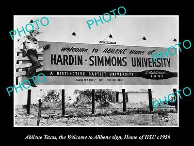 OLD LARGE HISTORIC PHOTO OF ABILENE TEXAS, WELCOME TO ABILENE, HSU SIGN c1950s