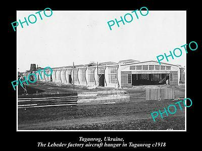 OLD LARGE HISTORIC PHOTO OF TAGANROG UKRAINE, LEBEDEV AIRCRAFT FACTORY c1918
