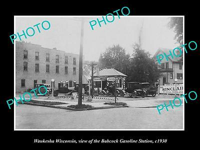 OLD LARGE HISTORIC PHOTO OF WAUKESHA WISCONSIN, THE BABCOCK GAS STATION c1930