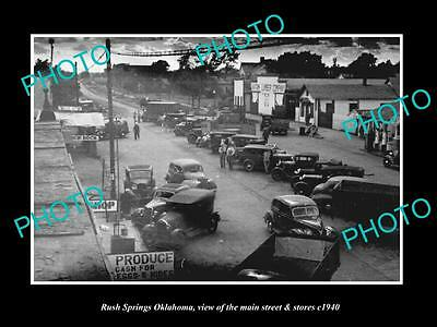 Old Large Historic Photo Of Rush Springs Oklahoma, The Main Street & Stores 1940