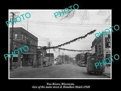OLD LARGE HISTORIC PHOTO OF TWO RIVERS WISCONSIN, VIEW OF THE MAIN STREET c1940