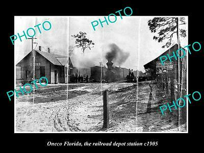 OLD LARGE HISTORIC PHOTO OF ONECO FLORIDA, THE RAILROAD DEPOT STATION c1905