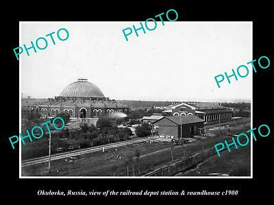 OLD LARGE HISTORIC PHOTO OF OKULOVKA RUSSIA, THE RAILROAD DEPOT STATION c1900