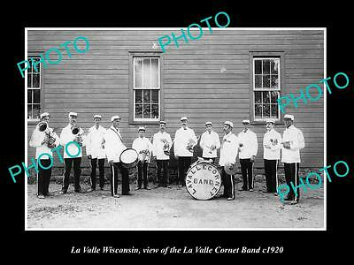 OLD LARGE HISTORIC PHOTO OF LA VALLE WISCONSIN, THE TOWN CORNET BAND c1920