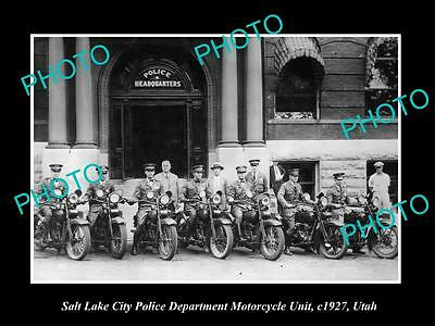OLD LARGE HISTORIC PHOTO OF THE SALT LAKE CITY POLICE DEPARTMENT M/C, c1927 UTAH