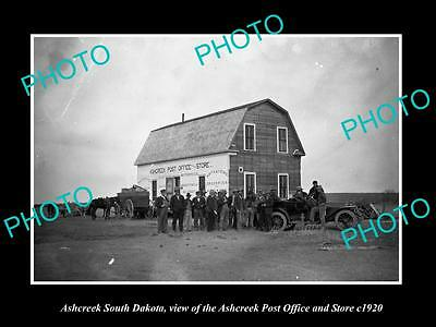 OLD LARGE HISTORIC PHOTO OF ASHCREEK SOUTH DAKOTA, THE POST OFFICE & STORE c1920