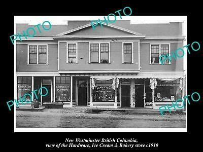 OLD HISTORIC PHOTO OF NEW WESTMINSTER BRITISH COLUMBIA, THE TOWN STORES c1910