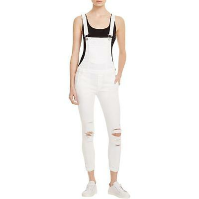 Black Orchid 1473 Womens White Destroyed Skinny Overall Jeans 28 BHFO