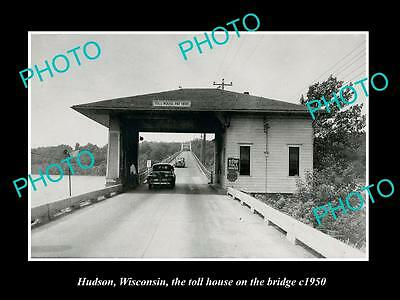Old Large Historic Photo Of Hudson Wisconsin, View Of The Birdge Toll House 1950