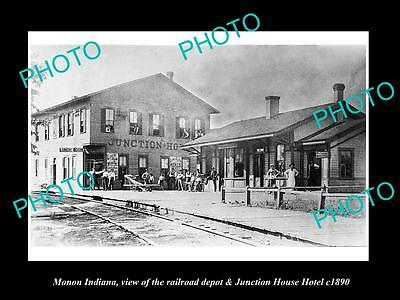 OLD LARGE HISTORIC PHOTO OF MONON INDIANA, THE JUNCTION HOTEL & DEPOT c1890