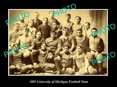 OLD LARGE HISTORIC PHOTO OF THE UNIVERSITY OF MICHIGAN FOOTBALL TEAM c1893
