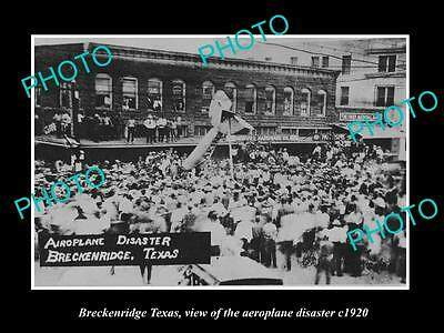 OLD LARGE HISTORIC PHOTO OF BRECKENRIDGE TEXAS, THE AEROPLANE DISASTER c1920
