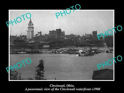 OLD LARGE HISTORIC PHOTO OF CINCINNATI OHIO, VIEW OF THE CITY WATERFRONT c1900