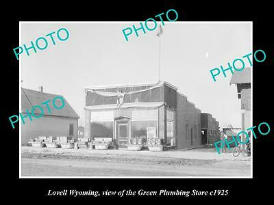 OLD LARGE HISTORIC PHOTO OF LOVELL WYOMING, THE GREENS PLUMBING STORE c1925