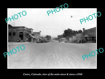 OLD LARGE HISTORIC PHOTO OF CORTEZ COLORADO, THE MAIN STREET & STORES c1940