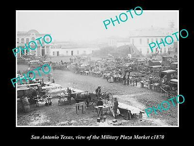 OLD LARGE HISTORIC PHOTO OF SAN ANTONIO TEXAS, THE MILITARY PLAZA MARKET c1870