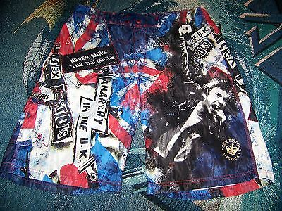 Vintage SEX PISTOLS AMERICA Band Dragonfly Swim Suit Surf Trunks Board Shorts 36