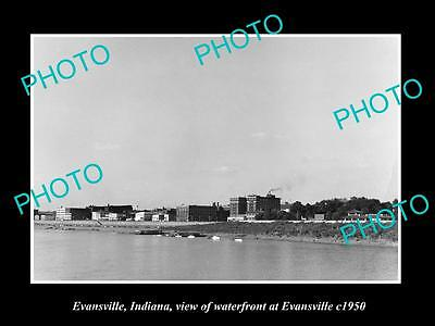 OLD LARGE HISTORIC PHOTO OF EVANSVILLE INDIANA, THE TOWN & WATERFRONT c1950