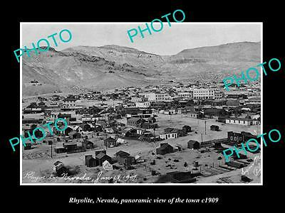 OLD LARGE HISTORIC PHOTO OF RHYOLITE NEVADA, PANORAMA OF THE TOWN c1909