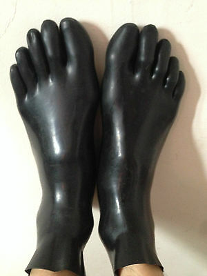 Latex Rubber Fashion Lovely STRETCHY FEET Five toe Cool socks Black Size S M L