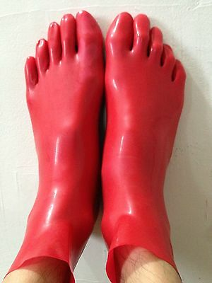 100% Latex Rubber Fashion Lovely STRETCHY FEET Five toe Cool socks Red Size S L