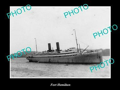 OLD LARGE HISTORIC MERCHANT SHIP PHOTO OF THE STEAMSHIP SS FORT HAMILTON c1920s