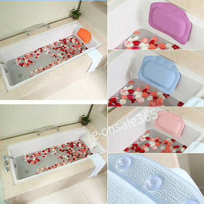 White Relaxing Spongy Cushioned Bath Spa Pillow Head Neck Rest Holder Bathroom