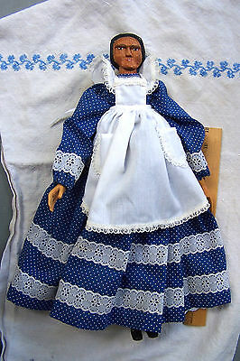 "OOAK Wooden Hand Carved 18"" Primitive Doll, Well Dressed"