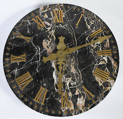 Antique Architectural ITR Wall Clock - Black Veined Marble Bronze Roman Numerals