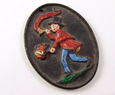 Vintage Cast Iron UF United Firefighter Insurance Fire Engine Plaque Sign Man
