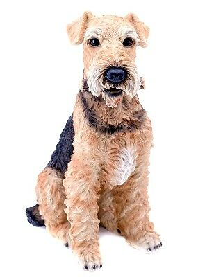"""Sitting AIREDALE TERRIER DOG Realistic 18"""" Life Like Statue Home Garden Decor"""