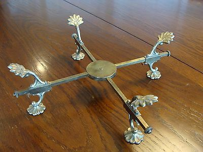 Prill Silver Company New York Adjustable Brass Trivet Plant Stand 1940's