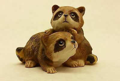 Pair of curious raccoons - Homco # 1454 porcelain figurine raccoon wild animal