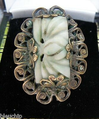 Antique Chinese Qing Silver & Brass Carved Jade Jadeite Ring, size 4