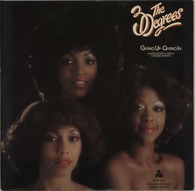 """Three Degrees Giving Up Giving In - Red ... UK 12""""  record (Maxi)"""