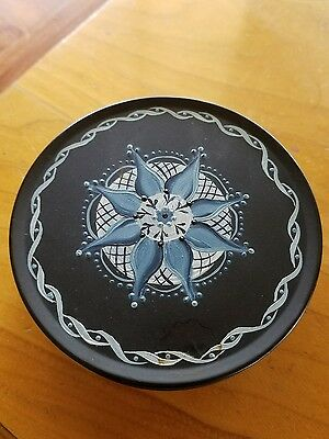 vintage 1985 tole painted metal box signed black blue Margaret gray simple cute