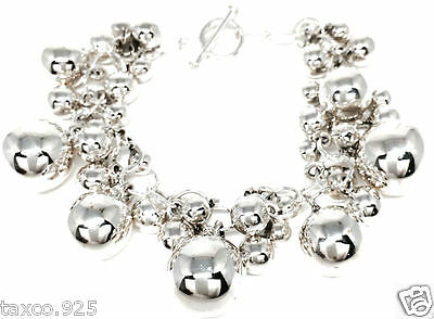 Taxco Mexican 925 Sterling Silver Graduated Beads Beaded Bracelet Mexico