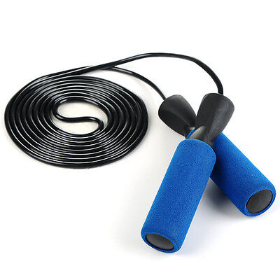 BLUE Skipping Speed Rope Fitness Boxing  Jumping Gym Foam Padded Ropes 360 Twist